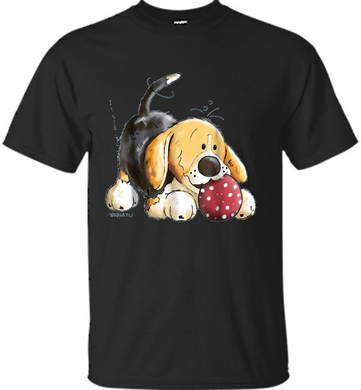 Playing Beagle-Dog Play Football-Beagle Cartoon T Shirt - Shirt