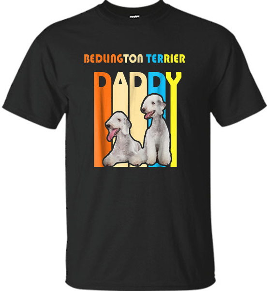 Retro Vintage Daddy BEDLINGTON TERRIER T-Shirt- Father's Day - Shirt