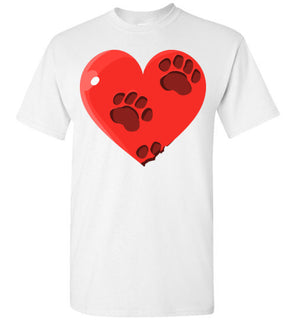 Cute Heart Design with pet paws on Cotton Tshirt