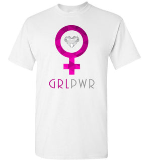 Women's Cute GRL PWR (Girl Power) Chic Designer Love Tee Novelty Graphic Shirt