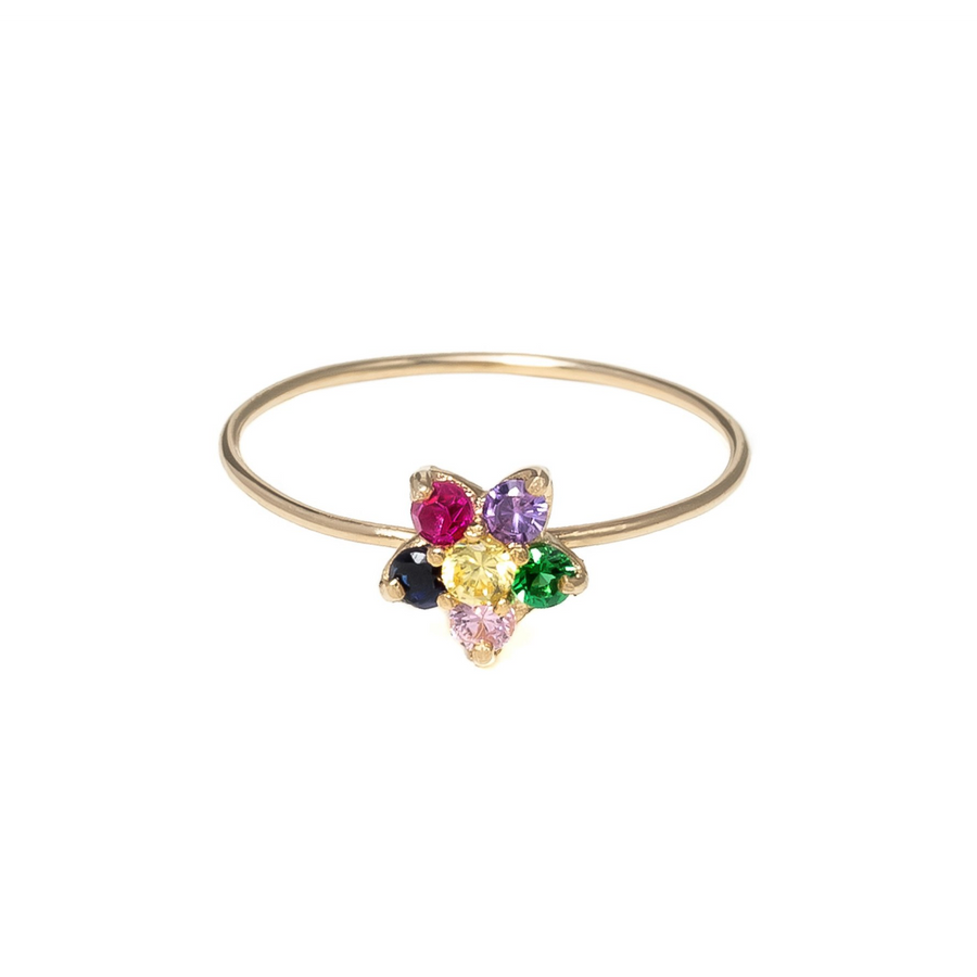 happy daisy | 14k yellow gold and pink tourmaline, blue sapphire, ruby, amethyst, emerald & yellow sapphire