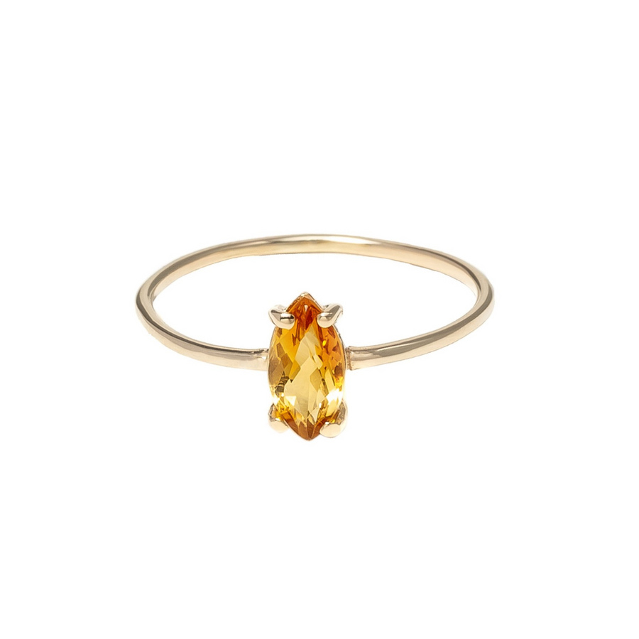Baby D Navette citrine | 14k yellow gold and citrin