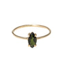 Baby D Navette tourmaline | 14k yellow gold and green tourmaline
