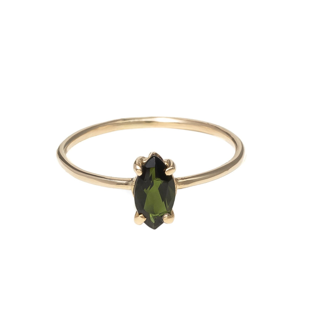 baby d navette tourmaline ring