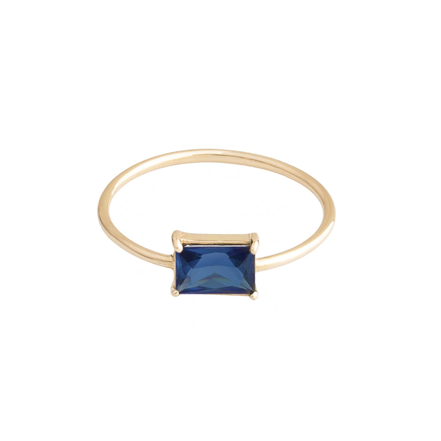 Baby D rectangular blue | 14k yellow gold and sapphire