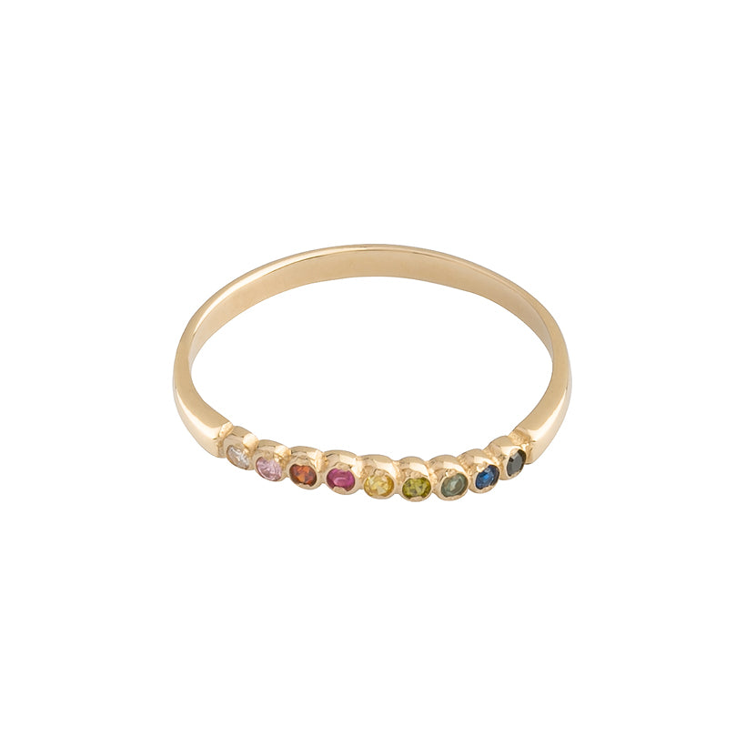 one by one rainbow | 14k yellow gold and gemstones