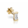 Diamond Baguette threaded Stud | 18K Yellow Gold | Single