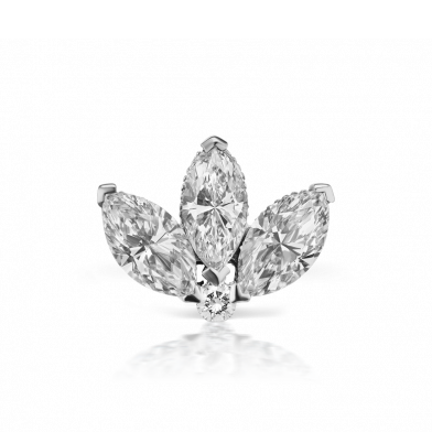 3mm Diamond Engraved Lotus Threaded Stud | 18K White Gold | Single