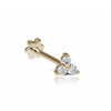 Three diamond trinity threaded Stud | 18K Yellow Gold | Single