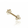 ball trinity threaded stud | 14k yellow gold | single