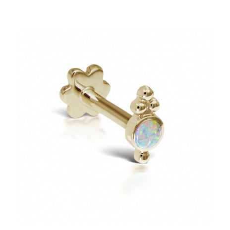 Opal Four Ball Threaded Trinity Traditional Stud | 18K Yellow Gold | Single