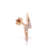 Diamond Lighting Bolt Threaded Stud | 14K rose  Gold | Single