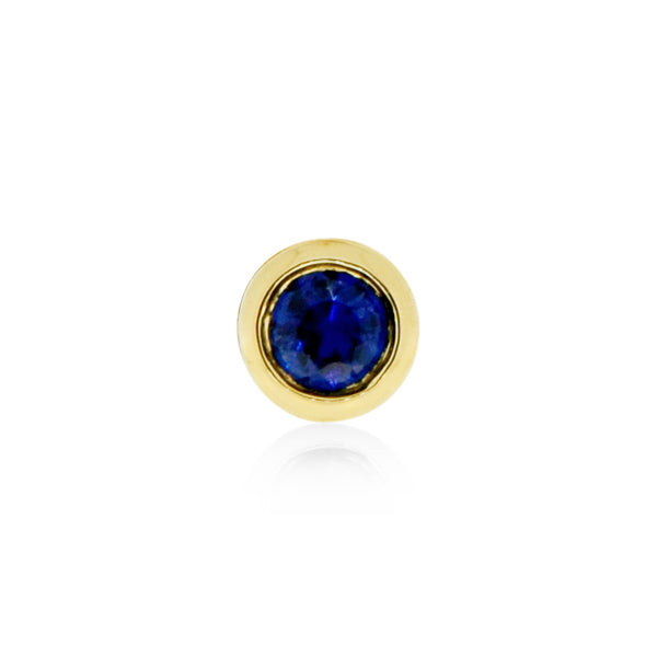 Earring 001 | 14K Yellow gold & blue sapphire | Single