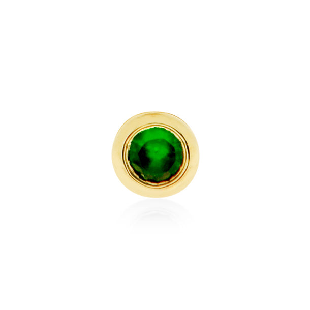Earring 001 | 14K Yellow gold & green garnet | Single