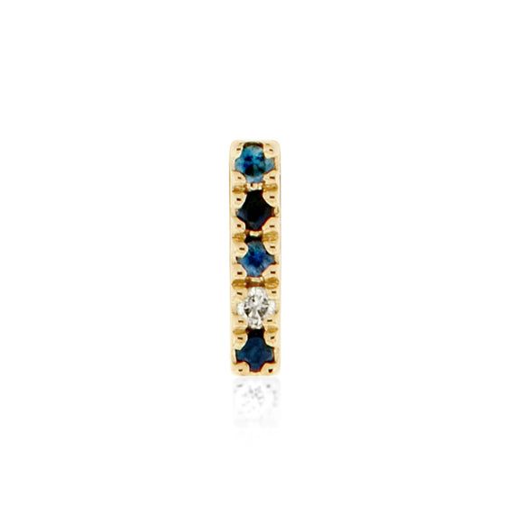 Earring 003 blue color | 14K yellow gold, blue sapphires & diamond | Single