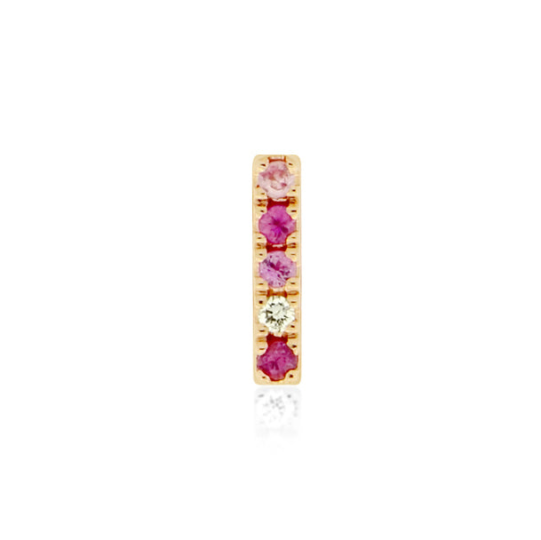 Earring 003 pink color | 14K Rose gold, rubies, sapphires & diamond | Single