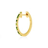 huggie 003 green color | 14K yellow gold, green garnets & white diamonds | Single