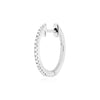 huggie 003 | 14K White gold & white diamonds | Single