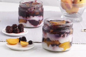 Peach Blueberry Trifle [200 ml Jar]-trifle-BAKEBURRY