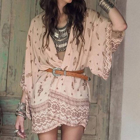 Feather Boho Chiffon Kimono Beach Cover up -  Blouse