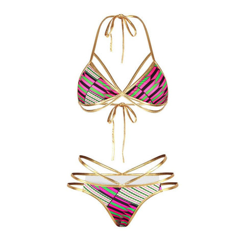 All That Glitters Gold & Pink String Bikini