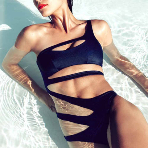 Get the hottest look for 2017 - 2018.   A Sandstorm Luxury solid colour bandage monokini which caresses the curves and flashes flesh in all the right places.