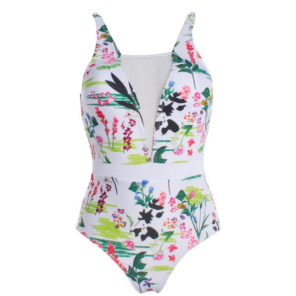 *Special Offer* Delicate Floral White One Piece Swimsuit