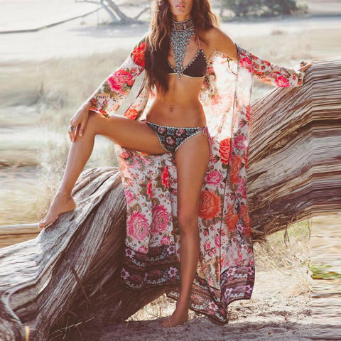 Floral Vintage Loose Kimono Beach Cover up - Blouse