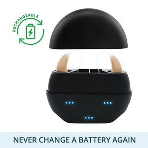 Buy 1 New Nano Model X2 Recharge Hearing Aid And Get The Second Ear FREE! Plus Get a FREE Portable Charging Case Worth $195!