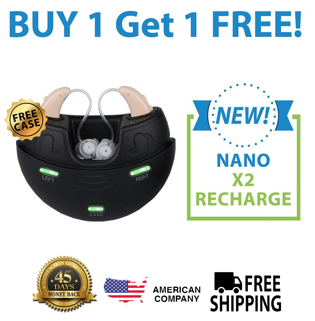 Nano Model X2 Recharge Hearing Aid Buy 1 And Get The Second Ear FREE!