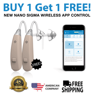 LAST CHANCE OFFER! Buy 1 Nano Sigma Wireless Hearing Aid And Get The Second Ear FREE! (Full Pair For Only $597) Plus Get FREE Protection Plan + 6 Months of FREE Batteries + FREE Shipping!
