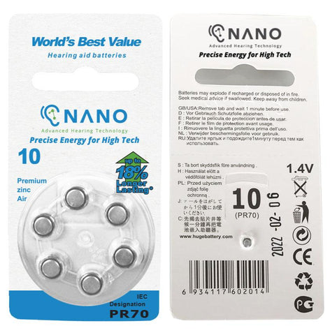 Buy 3 Packs Get 3 FREE! 6 Month Supply - Nano Batteries Premium Zinc Air Hearing Aid Batteries For Nano's CIC Devices. Now ONLY $49! (SAVE $50)
