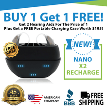 Load image into Gallery viewer, Copy of (Buy 1 Get 1 FREE PLUS FREE CASE Worth $195!) Buy 1 NEW Model Nano X2 Recharge Hearing Aid - Get the Second Ear FREE. Entire Pair for Only $697!