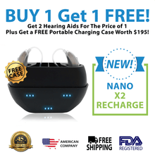 Load image into Gallery viewer, 🔥 ON SALE: Buy 1 New Nano Model X2R Recharge Hearing Aid And Get The Second Ear FREE! Plus Get a FREE Portable Charging Case Worth $195!