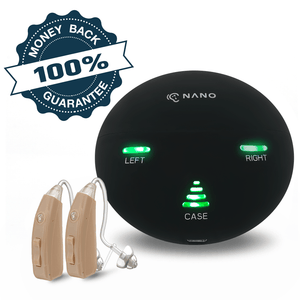 Last Chance Offer! Buy 1 Nano RX2000 Rechargeable Hearing Aid Get The Second Ear FREE! Free portable charging case ($97 value)