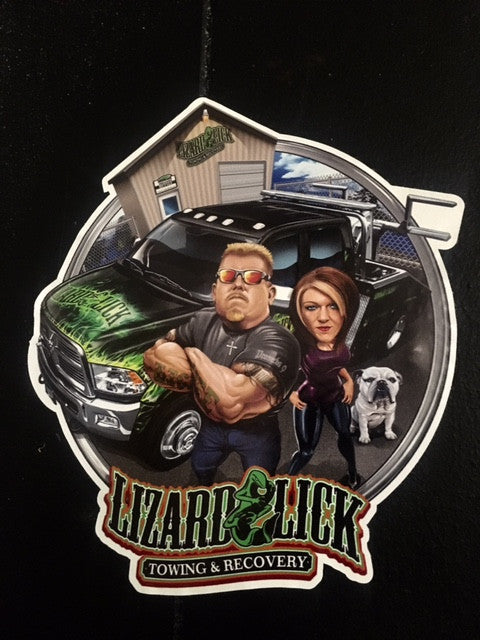 Sticker with Ron,Amy & Repo with Lizard Lick Logo