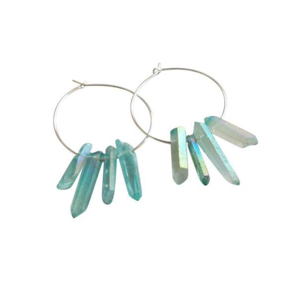 Earrings - Aqua Quartz Crystal Hoop Earrings