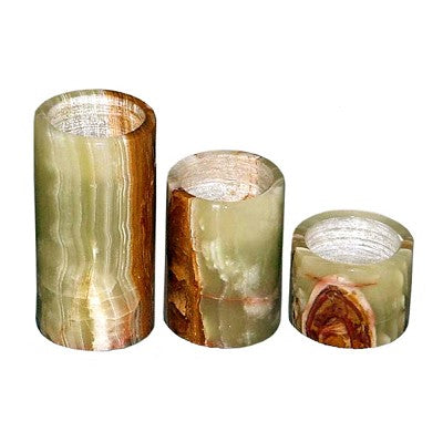 Rainbow Onyx Candle Holder Set