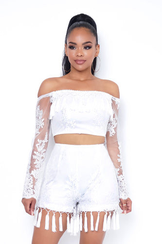 Iced Out Two Piece Short Set - White