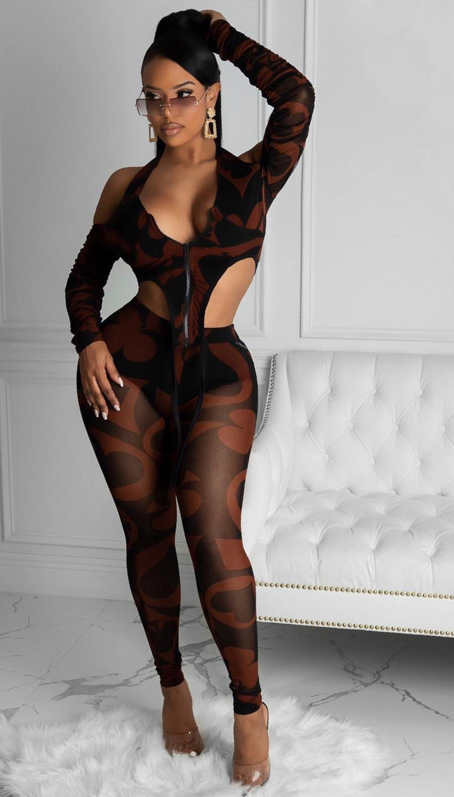 Invite Only Two Piece Pant Set - Brown