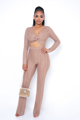 After Hour Two Piece Pant Set - Taupe