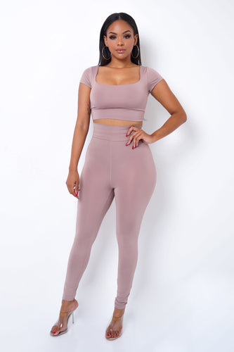 Second Skin Two Piece Pant Set - Mauve