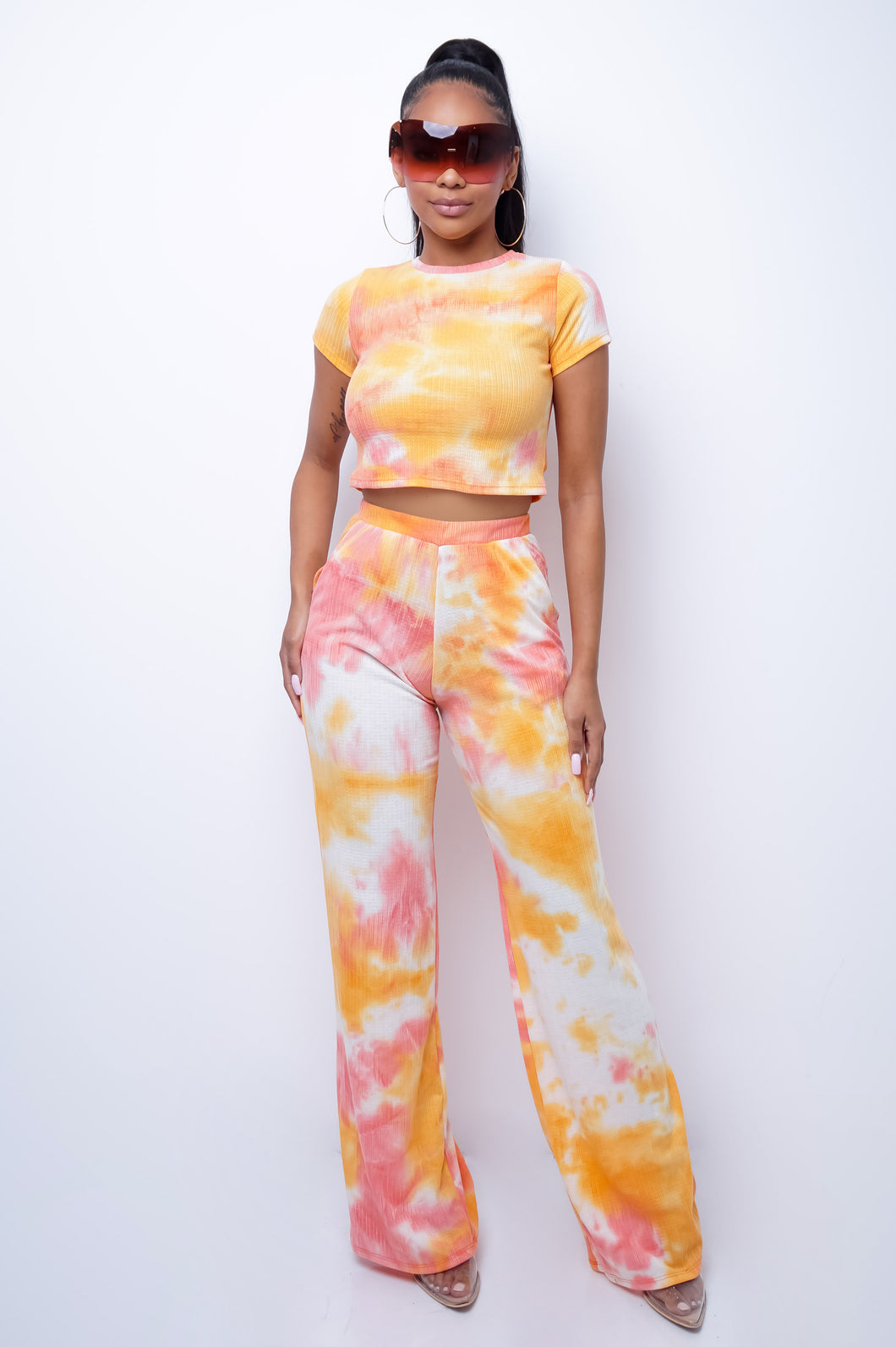 Analda Two Piece Pant Set - Orange
