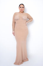 Plus Size Gala Maxi Dress - Nude