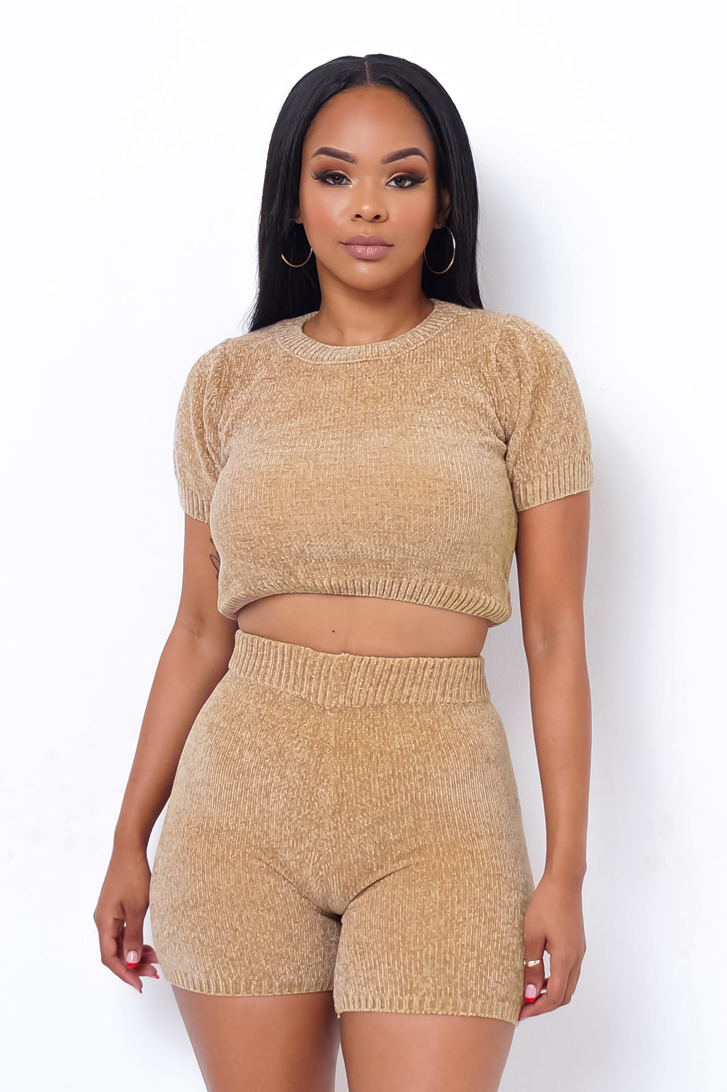 Melania Two Piece Short Set - Nude