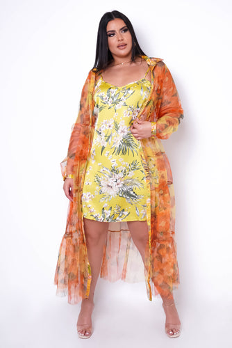 Plus Size Pacific Mini Dress + Cover Up - Yellow