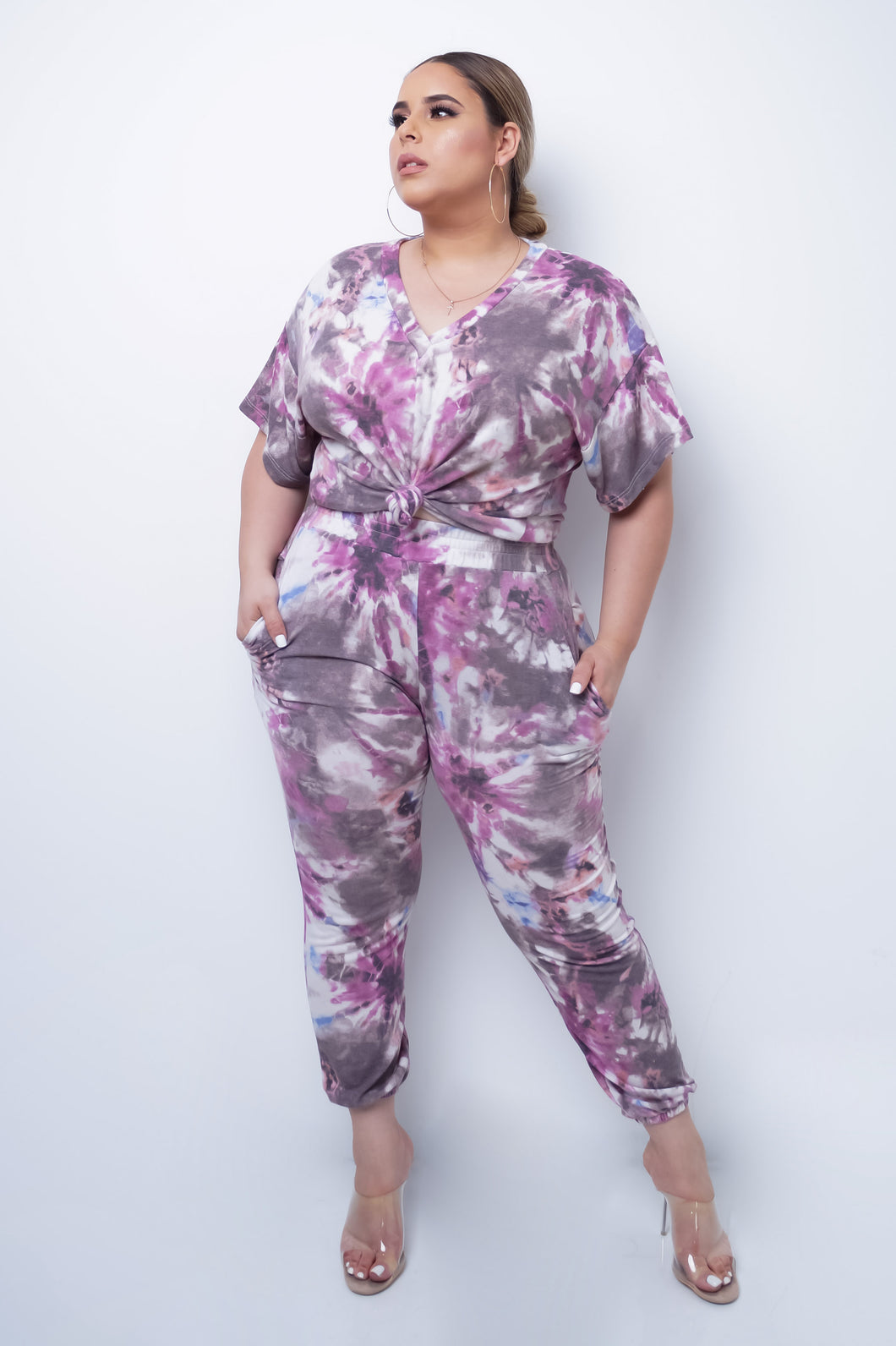Plus Size Rosaline Two Piece Pant Set - Pink