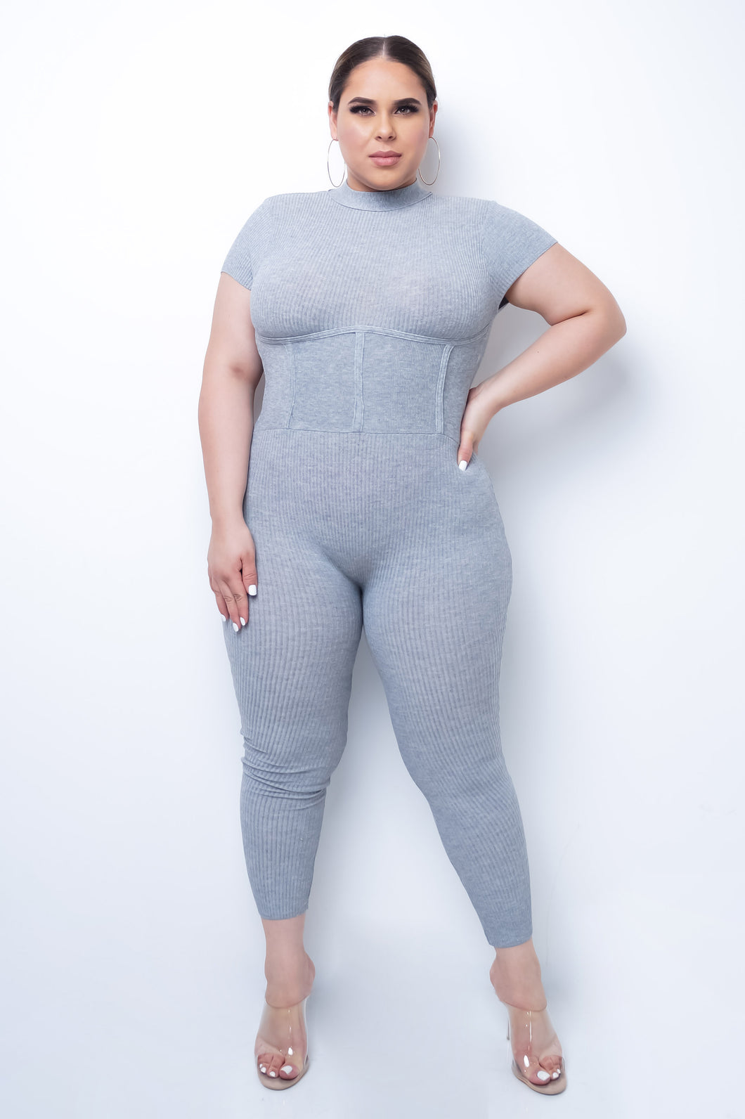 Plus Size Power From Within Jumpsuit - Gray