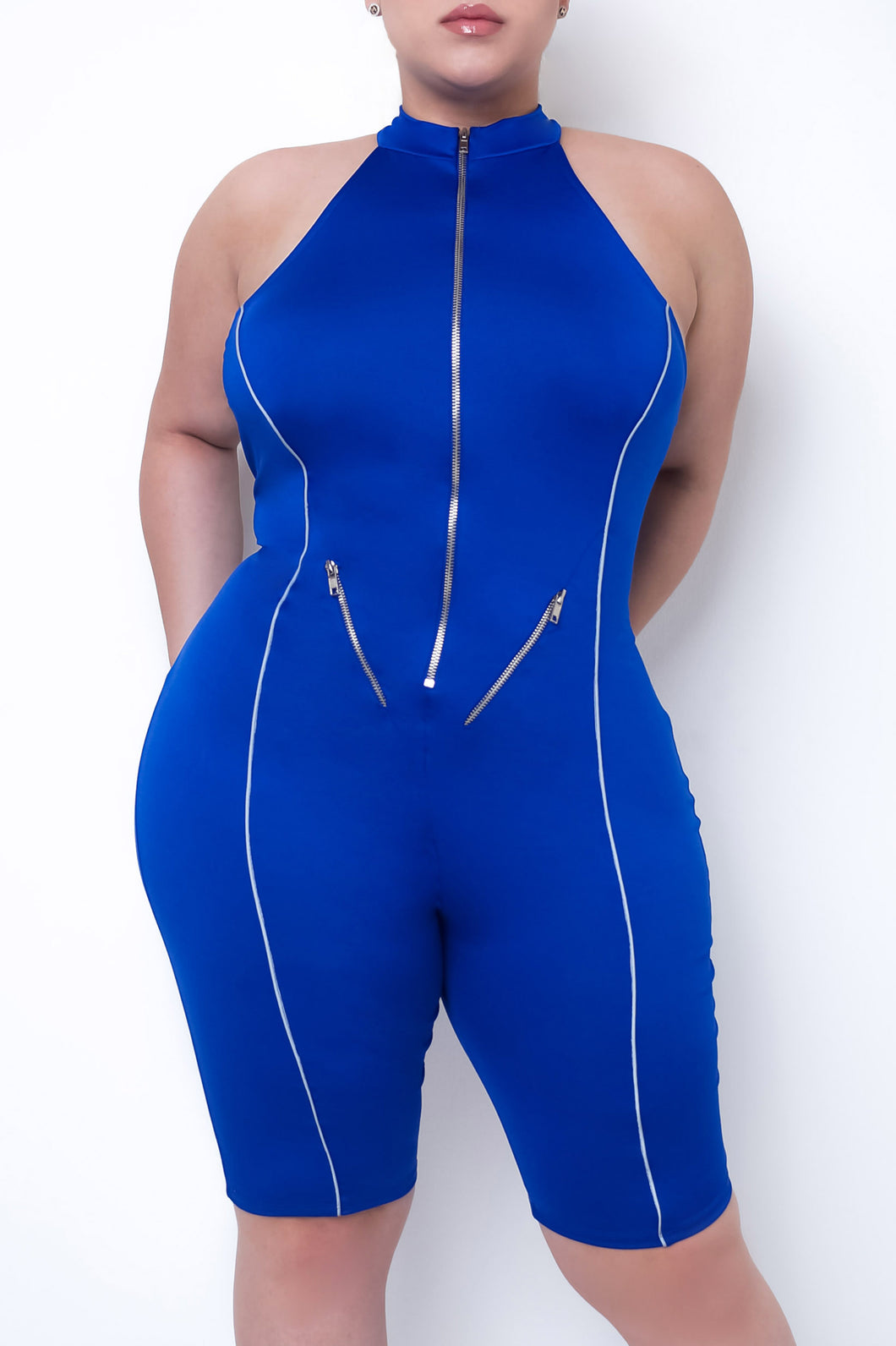 Plus Size Susan Romper - Blue