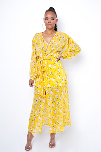 Olga Two Piece Skirt Set - Yellow